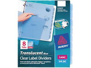 Avery                                    Index Maker Clear Label Punched Dividers, Blue 8-Tab, Letter, 5 Sets/Pack
