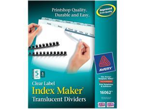 Avery 16062 Index Maker Unpunched Clear Label Dividers, 5-Tab, Letter, 5 Sets/Pack