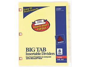 Avery 23285 WorkSaver Big Tab Dividers w/Copper Holes, Clear 8-Tab, Letter, Buff