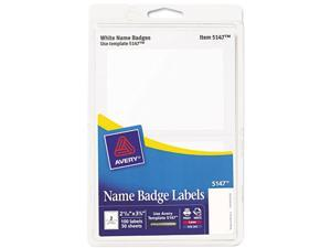 Avery 5147 Print/Write Self-Adhesive Name Badges, 2-11/32 x 3-3/8, White, 100/Pack