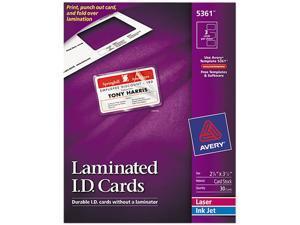 Avery 5361 Laminated Laser/Inkjet ID Cards, 2 x 3-1/4, White, 30/Box