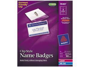 Avery 74461 Badge Holders w/Laser/Inkjet Inserts, Top Load, 2-1/4 x 3-1/2, White, 100/Box