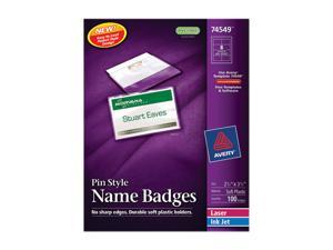 Badge Holders w/Laser/Inkjet Inserts, Top Loading, 2-1/4 x 3-1/2, White, 100/Box