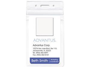 Advantus 75524 Resealable ID Badge Holder, Vertical, 2 5/8w x 3 3/4h, Clear, 50/Pack