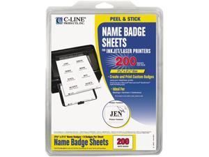 Self-Adhesive Inkjet/Laser Printer Name Badges, 2-1/3 x 3-3/8, White, 200/Box