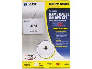 C-line 95743 Badge Holder Kits, Top Load, 3 x 4, White, 50/Box