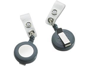 "Badgemates Plastic Retractable Name Badge Reel, 23"" Extension, Gray, 25/Box"