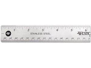 "Westcott 10415 Stainless Steel Ruler w/Cork Back and Hanging Hole, 12"", Silver"
