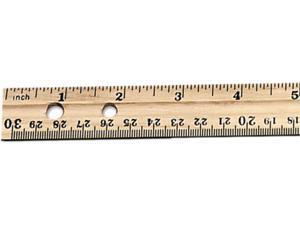 "Charles Leonard 77120 Economical Beveled Wood Ruler w/Single Metal Edge, 12"", Natural"
