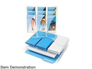 Three-Tier Document Organizer w/Dividers, 13-3/8w x 3-1/2d x 11-1/2h, Clear