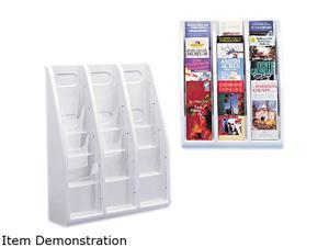 Multi-Tiered Desktop/Wall-Mount Literature Holders, 15-3/4w x 5d x 19-3/4h, Gray