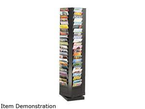 Steel Rotary Magazine Rack, 92 Compartments, 14w x 14d x 68h, Black