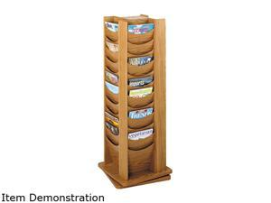 Rotary Display, 48 Compartments, 17-3/4w x 17-3/4d x 49-1/2h, Medium Oak