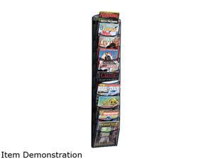 Safco Mesh Literature Rack, 10 Compartments, 10-1/4w x 3-1/2d x 50-3/4h, Black