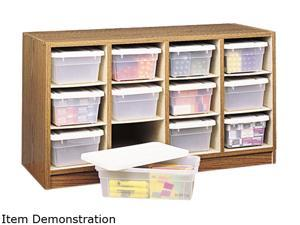 Safco 9452MO Modular Wood/Plastic 12-Bin Supplies Organizer, 34 x 13 x 19, Medium Oak/Clear