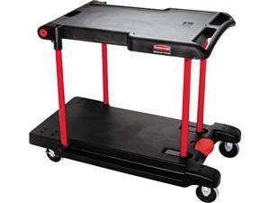 Rubbermaid Commercial 430000BK Two Shelf Convertible Utility Cart, 23-3/4w x 45-1/4d x 43-3/4h, Black