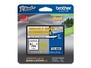 "Brother TZe-N201 Label Tape 0.13"" Width x 26.20 ft Length - 1 Each - Thermal Transfer - Black"