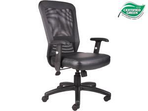 Boss  Office Products B580 The Web Back And Leather Plus Seat with Web Tension Knob 1 Unit Task Chair - Black