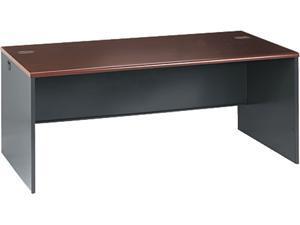 HON 38000 Series Desk Shell, 72w x 36d x 29-1/2h, Mahogany/Charcoal