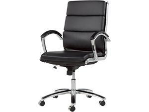 Alera Neratoli Series NR4219 (ALENR4219)Mid-Back Swivel/Tilt Chair, Black Leather, Chrome Frame