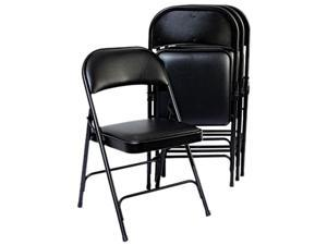 Alera Steel Folding Chair w/ Padded Back/Seat FC96B (ALEFC96B) Graphite, 4/Carton