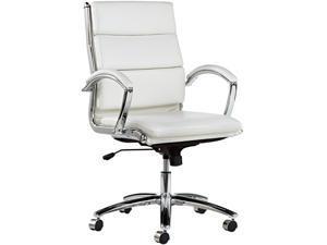 Alera Neratoli Series NR4206 (ALENR4206) Mid-Back Swivel/Tilt Chair, White Stain-Resistant Faux Leather, Chrome