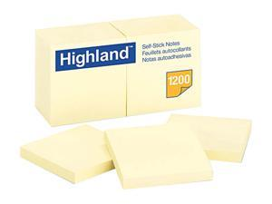 Highland Self-Stick Pads, 3 x 3, Yellow, 100 Sheets/Pad, 12 Pads/Pack