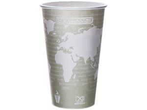 Eco-Products EP-BHC16-WAPK 16 oz World Art Hot Cups -  Seafoam Green - 50/Pack