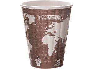 Eco-Products EP-BNHC8-WD 8 oz World Art Insulated Hot Cups - Maroon - 800/Carton