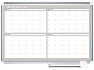 Bi-Silque GA05105830 MasterVision 4 Month Planner, 48x36, White/Silver