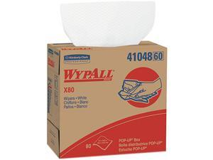 Kimberly-Clark Professional KCC 41048 WYPALL X80 Wipers, 9 1/10 x 16 4/5, White, POP-UP Box