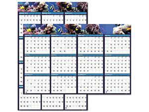 House Of Doolittle HOD3969 Earthscapes Sea Life Scenes Reversible/Erasable Yearly Wall Calendar, 24 x 37
