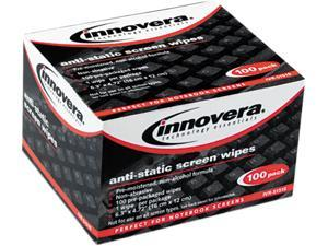 Innovera IVR51516 Screen Cleaning Wipes, Alcohol-free, Cloth, 6 1/4 x 4 3/4, White, 100/Pack