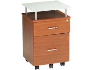Mayline 973MEC Eastwinds Vision Locking Box/File Pedestal, Medium Cherry with White Glass