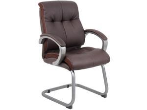 Boss Office Supplies  B8779P-BN  Double Plush Executive Guest Chair - Bomber Brown