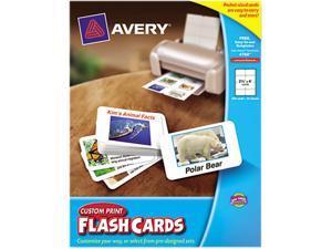 "Avery 4760 Custom Print Flash Cards, 2-1/2"" x 4"", 200 Cards"