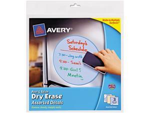 """Avery Peel & Stick Dry Erase Quote Decals, 10"""" x 10"""", Yellow, Pack of 3"""