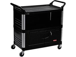 Rubbermaid Commercial RCP 4095 BLA Xtra Equipment Cart, 300lb Cap, 3-Shelf, 20 3/4w x 40 5/8d x 37 4/5h, Black