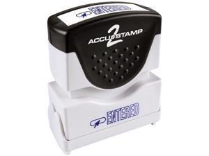 Accustamp2 035573 1 5/8 x 1/2 Blue Entered Accustamp2 Shutter Stamp with Microban