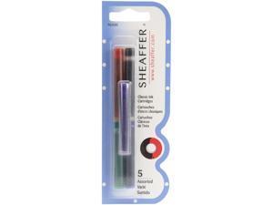 Paper Mate 96400 Skrip Ink Cartridges, 5/PK, Black/Red/Blue/Green/Purple