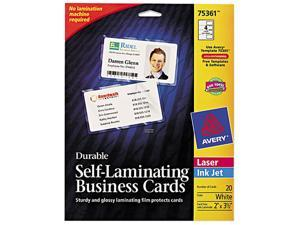 Avery 75361 Self-Laminating Business/ID Cards, White Matte, 2 1/4 x 3 1/2, 20/PK