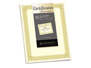 Southworth CTP2V Premium Certificates, Ivory, Spiro Gold Foil Border, 66 lb,  8.5 x 11, 15/Pack