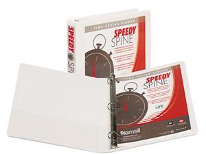 "Samsill                                  Speedy Spine Angle-D Ring View Binder, 11 x 8-1/2, 1"" Capacity, White"