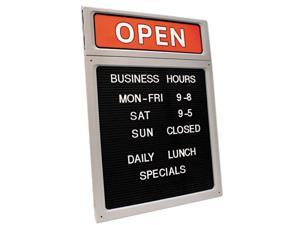 COSCO 098221 Message/Business Hours Sign, 15 x 20 1/2, Black/Red