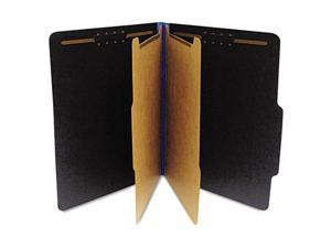 S J Paper S62624 Classifcation Folder, Two Dividers, Letter, Black/Blue, 15/Box
