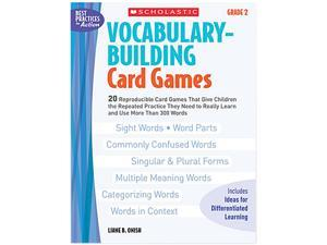 Scholastic 0439554659 Vocabulary Building Card Games, Grade Two, 80 pages