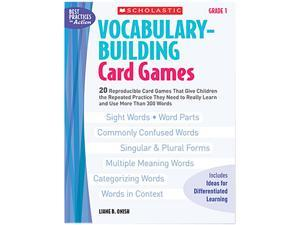 Scholastic 0439554640 Vocabulary Building Card Games, Grade One, 80 pages