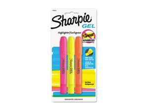 Sharpie 1780475 Gel Highlighter, Assorted Colors, Bullet, 3 per Pack