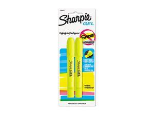Sharpie 1780473 Gel Highlighter, Fluorescent Yellow, Bullet, 2 per Pack