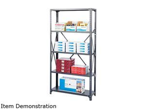 Safco 6269 Commercial Steel Shelving Unit, 6 Shelves, 36w x 18d x 75h, Dark Gray